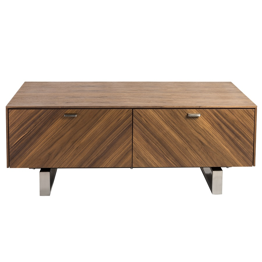 Alvarado 48 Coffee Table In American Walnut With Brushed Stainless Steel Base By Euro Style