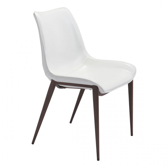 Magnus White Dining Chair Walnut Legs Set Of 2 By Zuo Modern Concepts Furniture