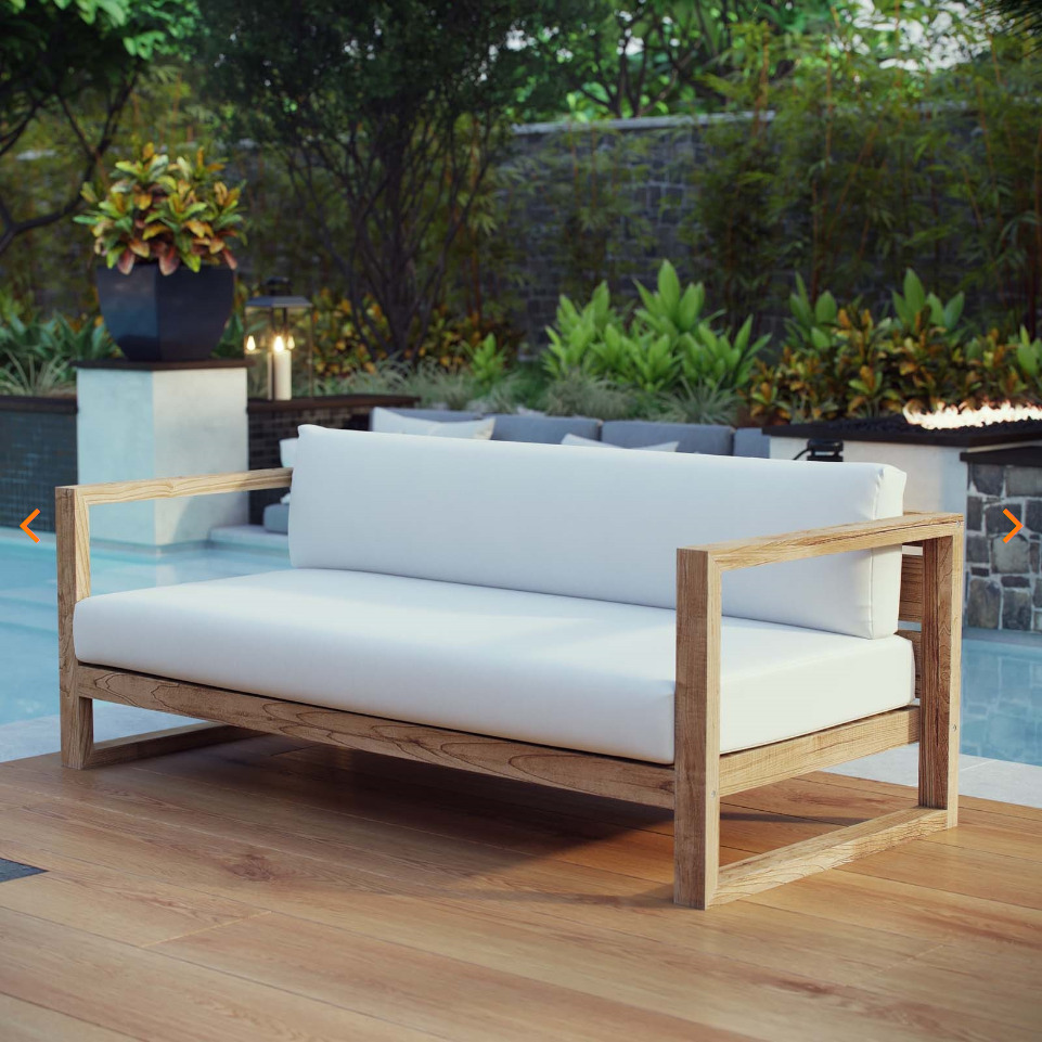 Upland Outdoor Patio Teak Sofa in Natural White by Modway